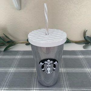 Starbucks 2017 White Glitter Grande Tumbler